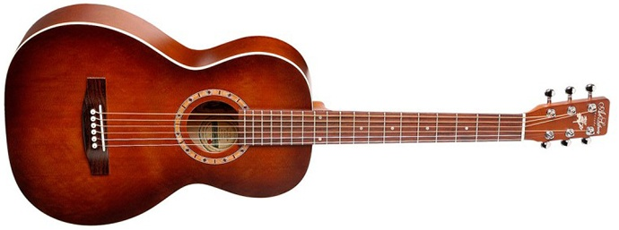 Art of the acoustic guitar and antique dealer Lutherry Amy in cedar wood.