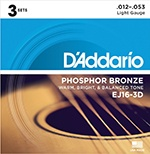 D'Addario EJ16-3D phosphorescent bronze string acoustic guitar, light, 3 stops