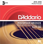 D'Addario EJ17-3D phosphor bronze acoustic guitar strings, medium, 13-56, 3 stops