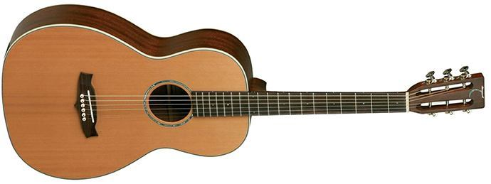 Guitar with solid mahogany cedar top and back, natural satin (TW73)