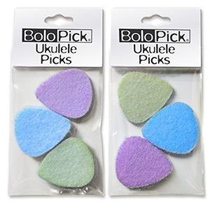 Selection of the brand BoloPick in felt for the multi-coloured packaging of the Ukulele 6.