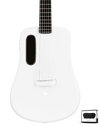 travel guitar, electric acoustic dreadnought guitar, natural classical 6-string guitar, best carbon fiber guitar from LAVA ME 2 (white)